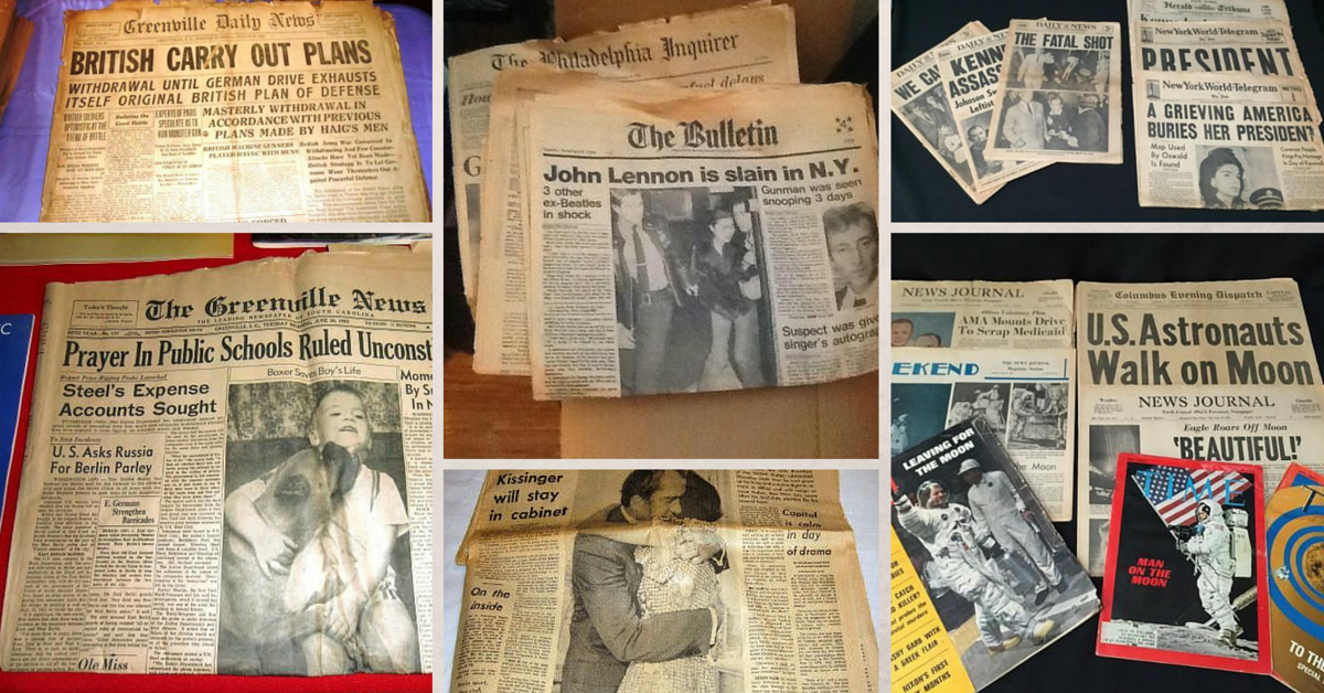 Estate Sale Ephemera: 20th Century Headlines