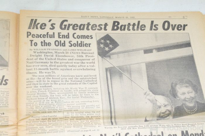 Newspaper headline: Ike's Greatest Battle