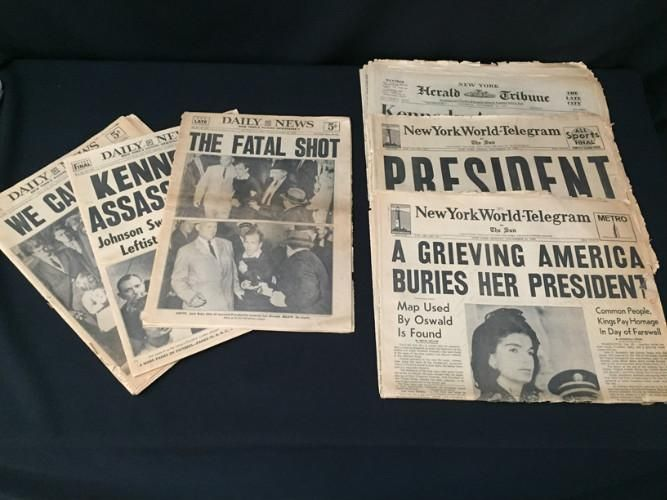 Newspaper headline: Kennedy Assassination