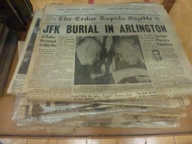Newspaper headling: Kennedy is Buried