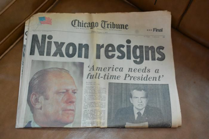 Newspaper headline: Nixon Resigns 2
