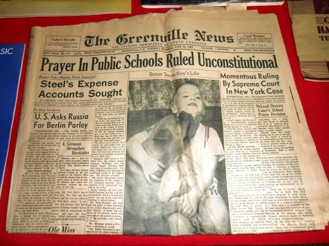 Newspaper headline: Prayer in Public Schools Ruled Unconstitutional