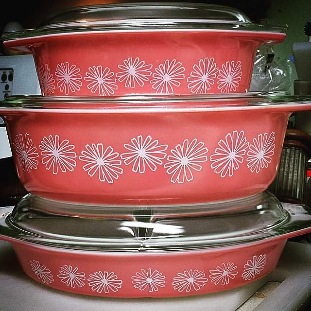 Pyrex Pink Daisy casserole dishes