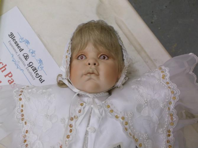 Creepy Baby Doll in Bonnet