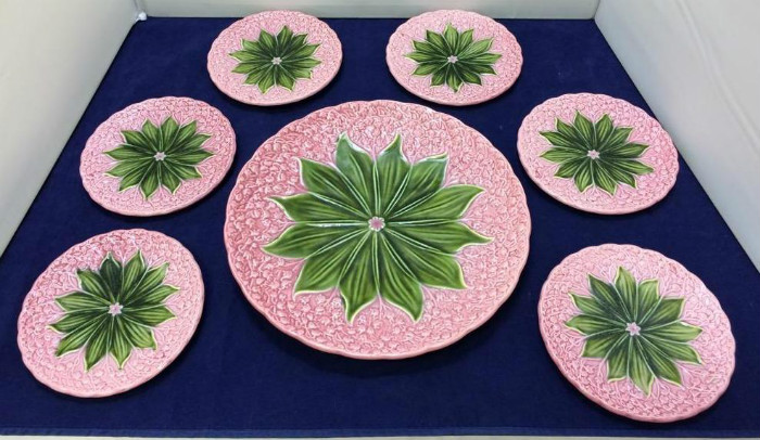 Pink Porcelain Dishes with Green Flowers