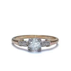 Vintage Engagement Rings_1940s yellow gold palladium ring