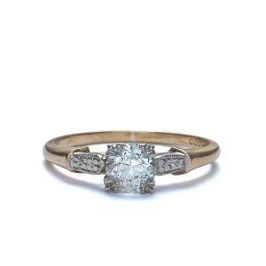 Vintage Engagement Rings_1940s yellow gold palladium ring