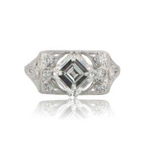 Vintage Engagement Rings_Antique diamond Aesscher cut engagement ring