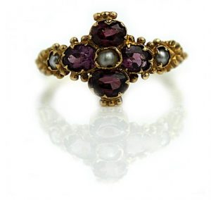 Vintage Engagement Rings_Art Nouveau garnet and pearl engagement ring