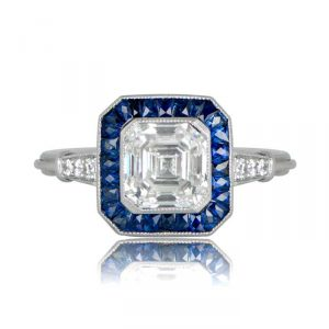 Vintage Engagement Rings Asscher sapphire halo setting ring