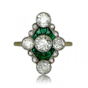 VintageEngagementRings_Edwardian-Emerald-and-Diamond-Ring
