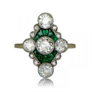 VintageEngagementRings_Edwardian-Emerald-and-Diamond-Ring