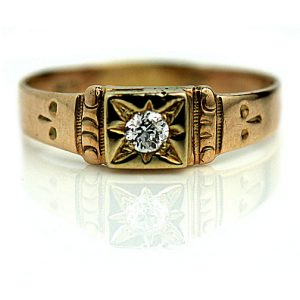Vintage Engagement Rings_Victorian Rose Gold Ring with Starburst