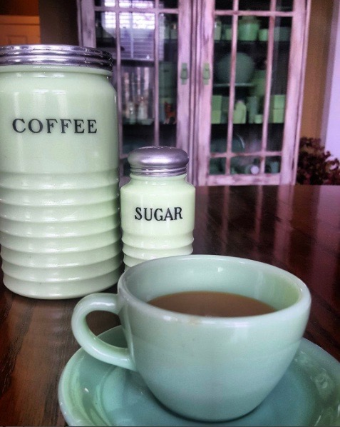 Jadeite mug of coffee with jadeite coffee and sugar canisters