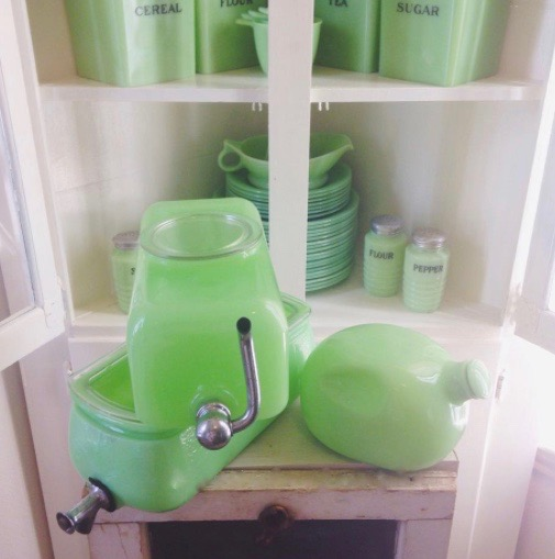 Sneath Jadeite Water Dispenser and McKee Jadeite Pinch Bottle