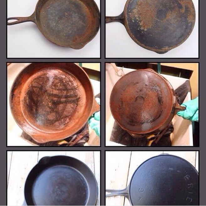 Vintage Cast Iron Guide Pan Handler Cleaning Process