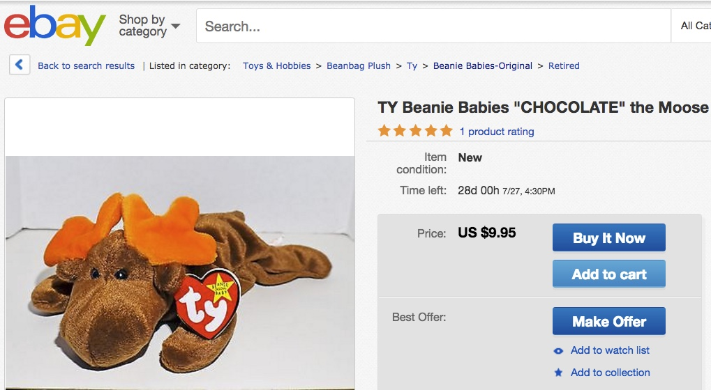 Beanie Babies Chocolate the Moose