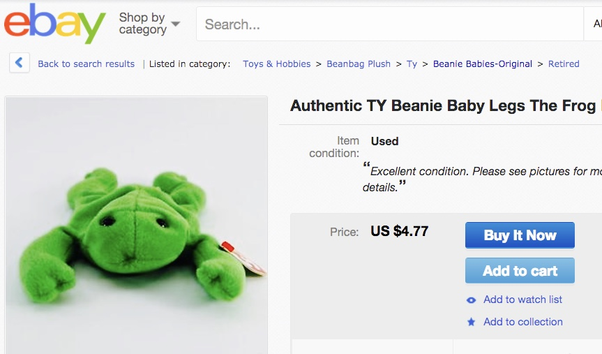 Beanie Babies Legs the Frog