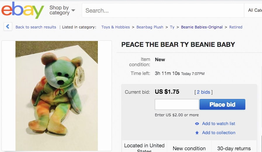 Beanie Babies Peace the Bear
