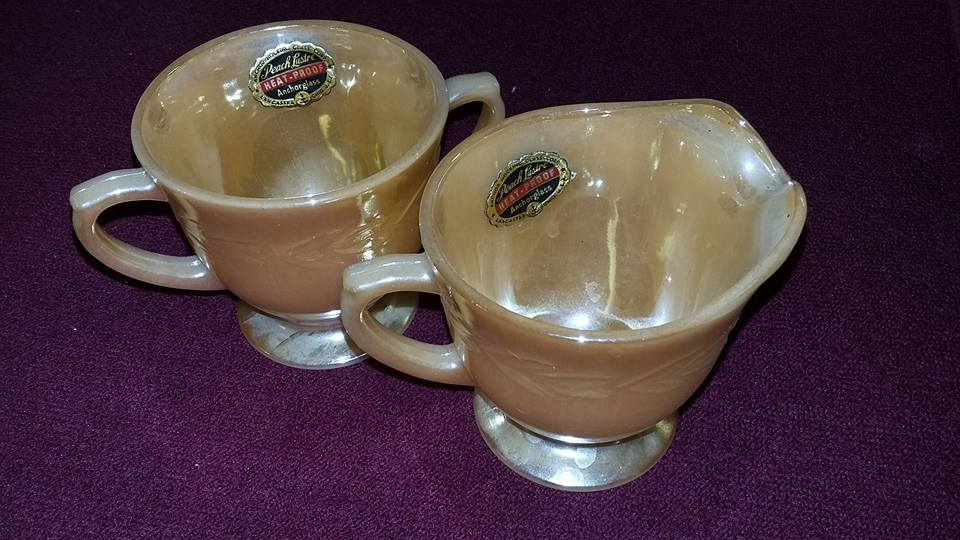 Peach lustre fire king cups
