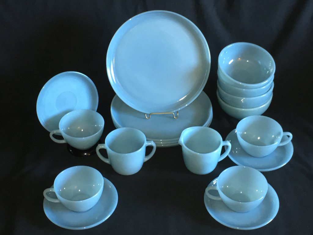 Turquoise Blue Fire King Dining Set