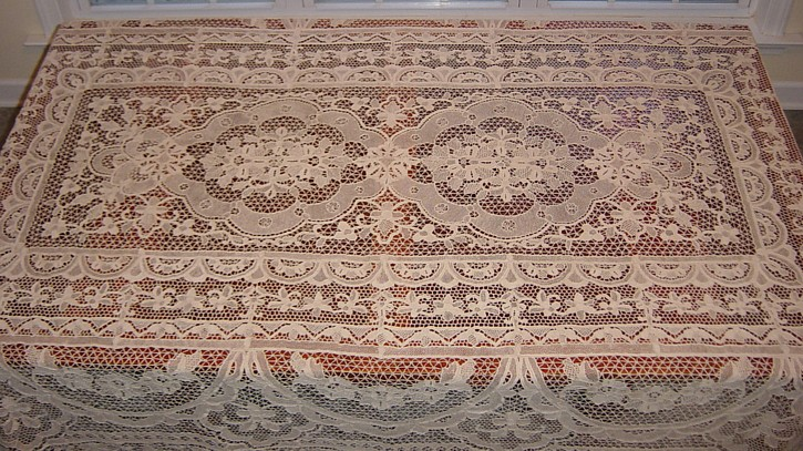 Italian needle lace tablecloth