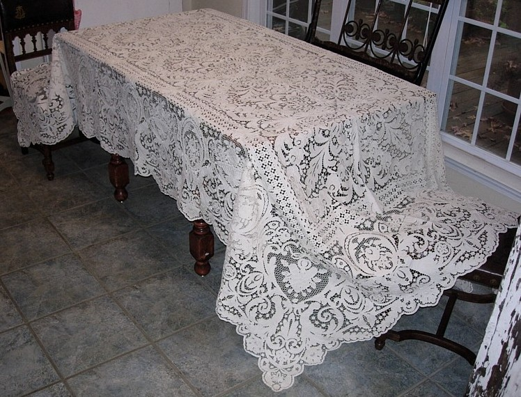 Italian needle lace tablecloth circa 1900