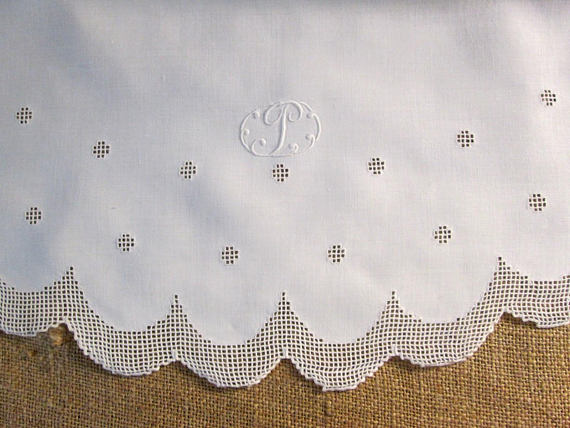 Irish linen tablecloth with monogram