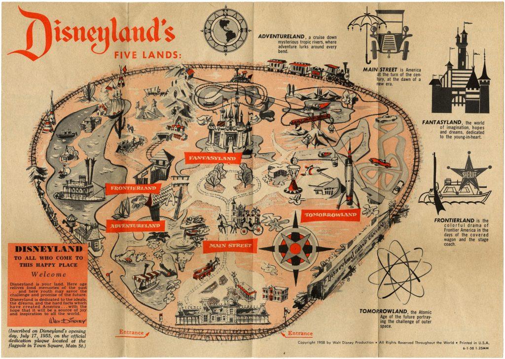 1958 Disneyland park map