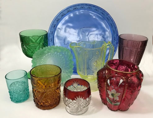 A variety of colored pattern glass