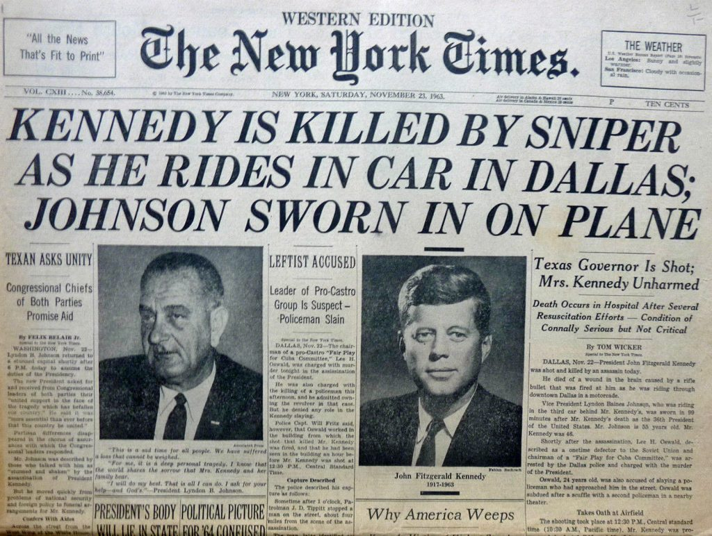 Kennedy assassination newspaper