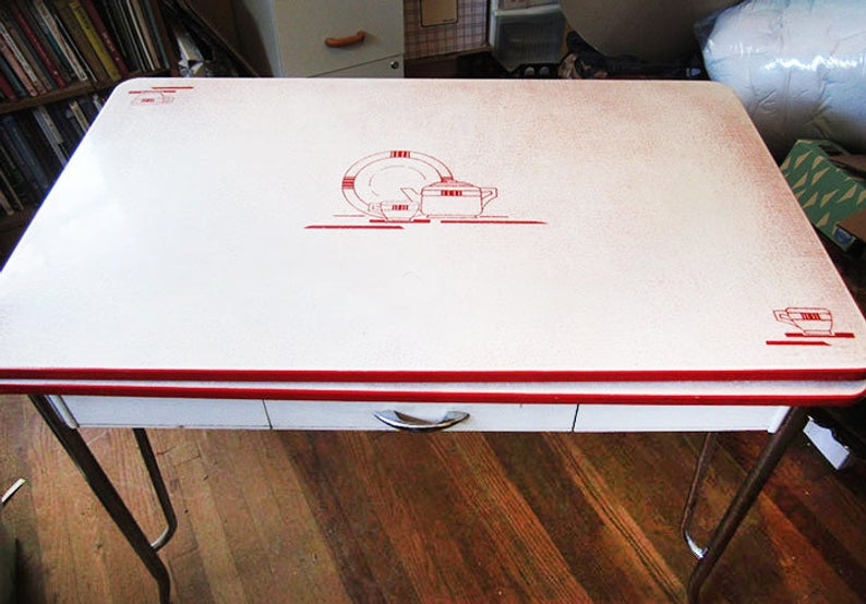 Red and white table