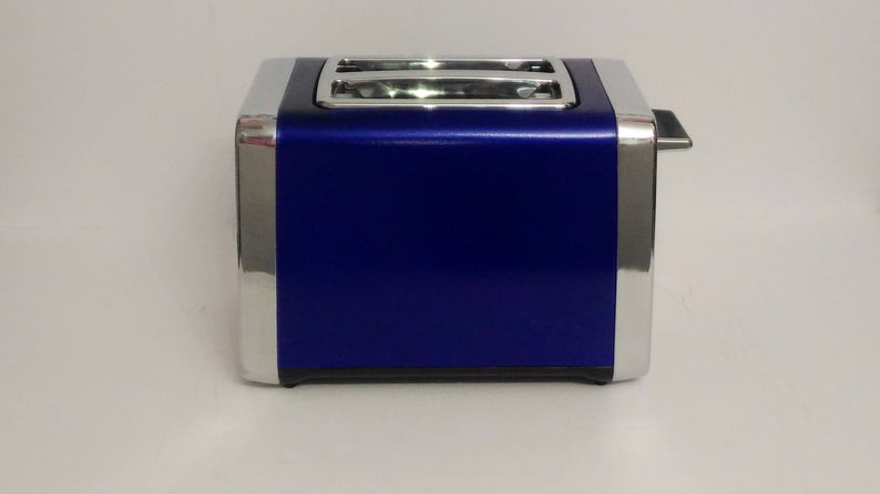 Blue and chrome toaster