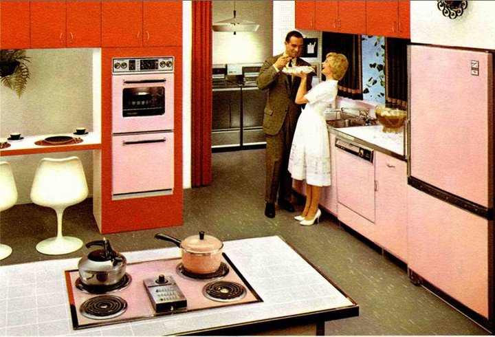 Couple in a pink and orange kitchen (drawing).