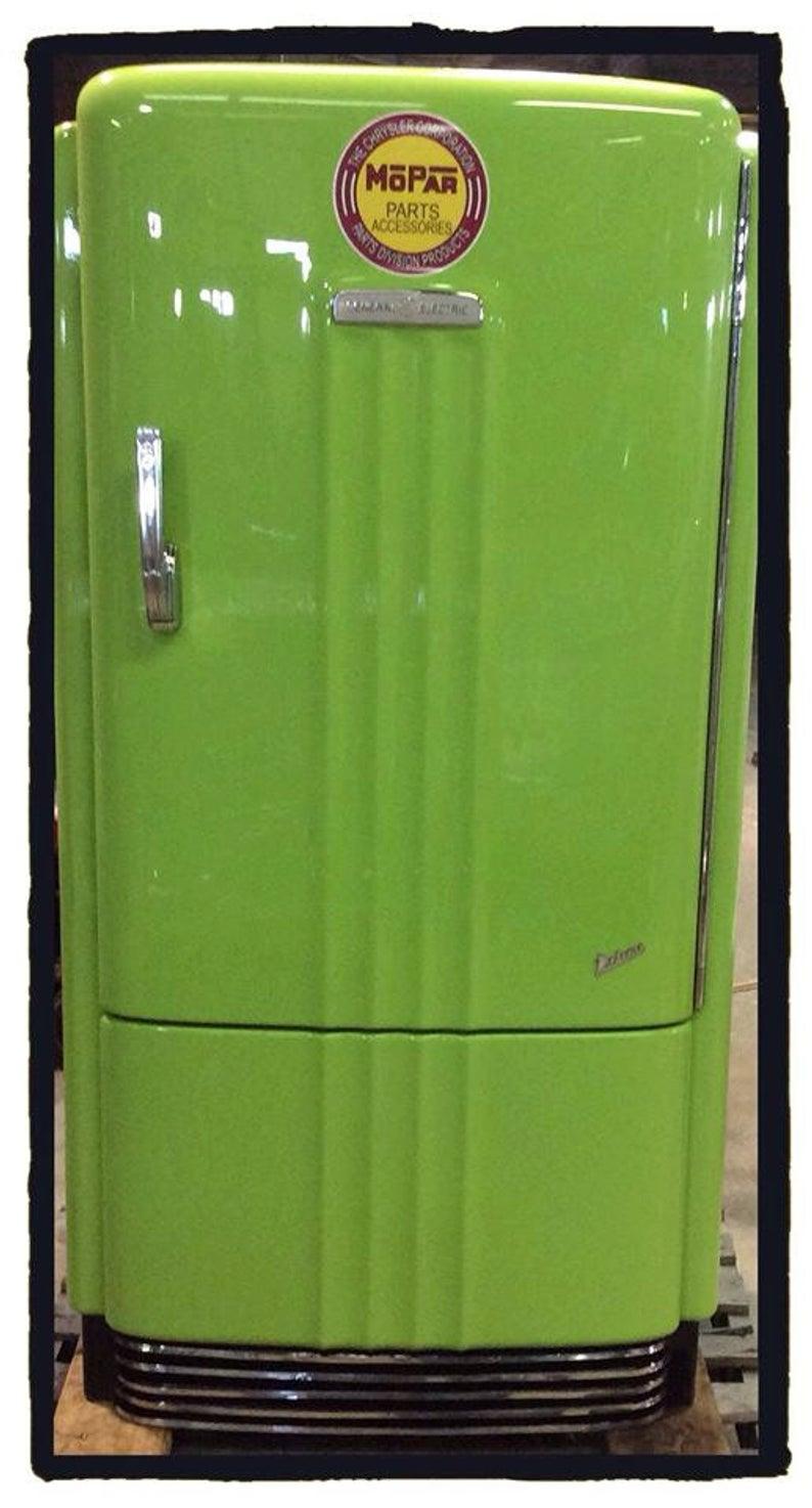 Green retro refrigerator