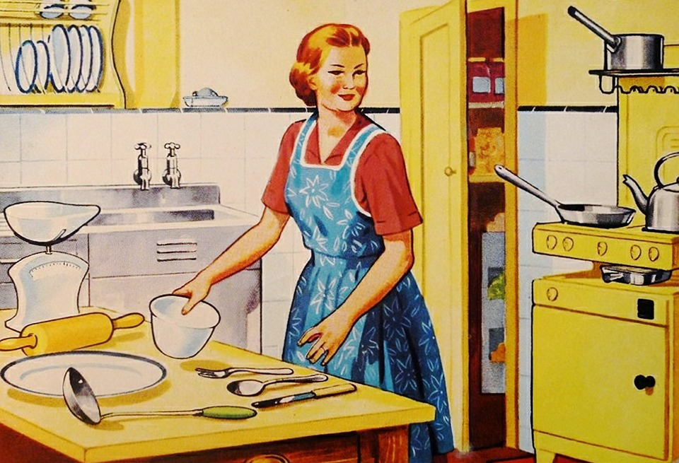 Drawing of a housewife in a yellow kitchen.