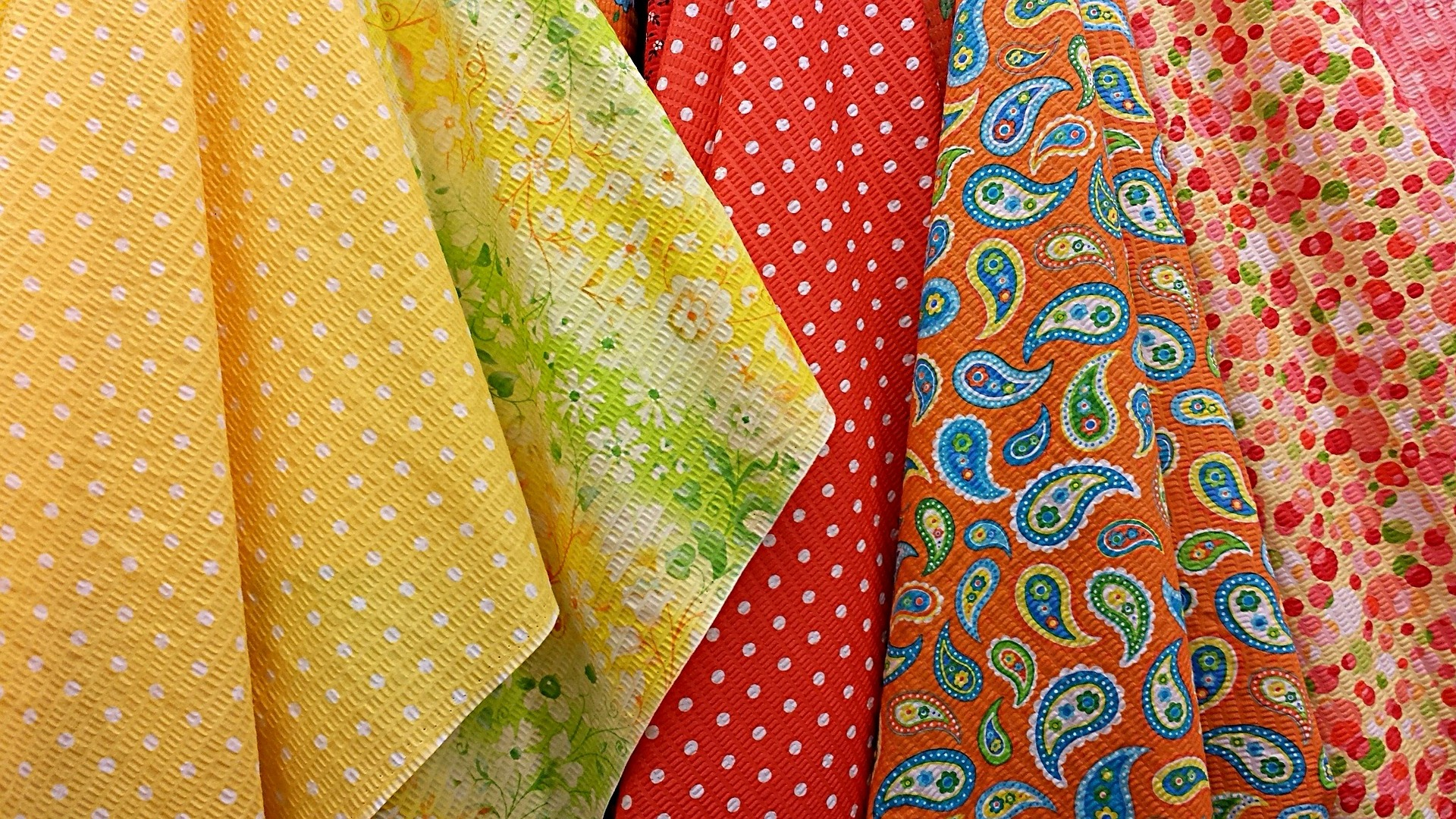 Colorful retro fabrics