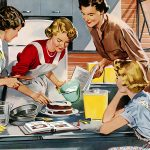 Retro drawing of four women baking a cake together in a kitchen.