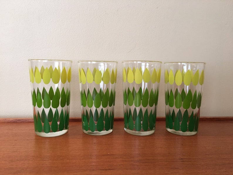 Glasses with green and yellow pattern.