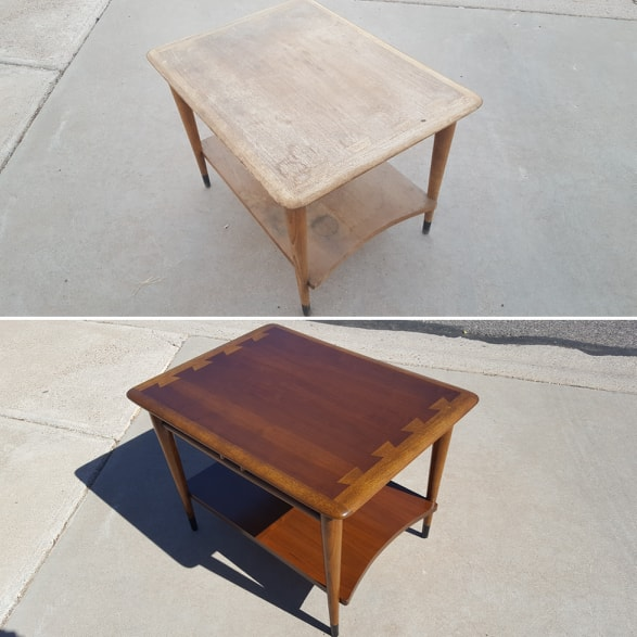 Before and after of refinished brown table