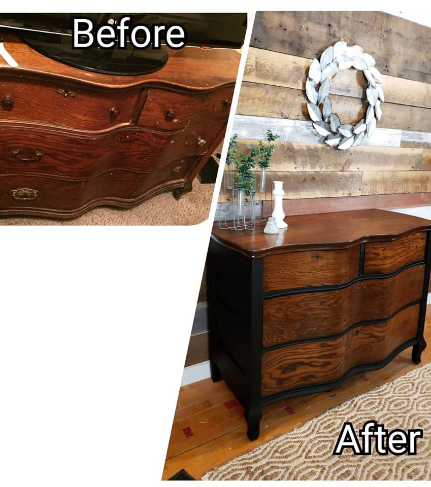 Before and after of wooden wavy-faced dresser.