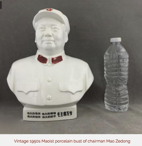 vintage mao bust with water bottle