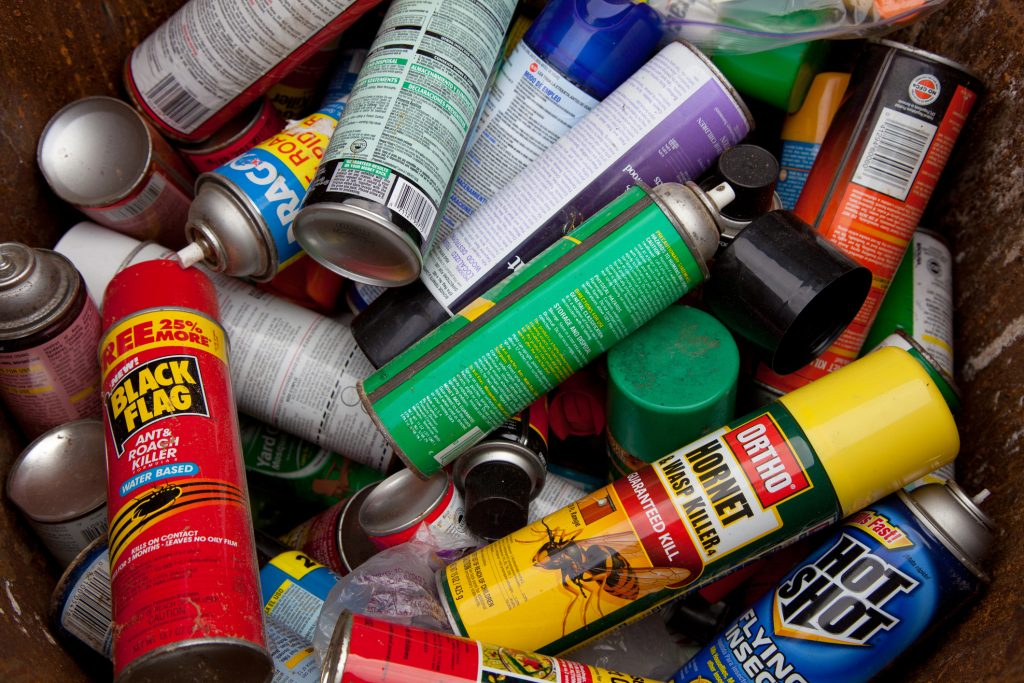 cans of bug spray and pesticides