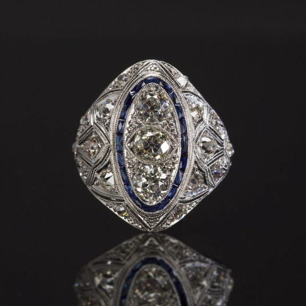 Vintage Estate Jewelry Sapphire Diamond Ring