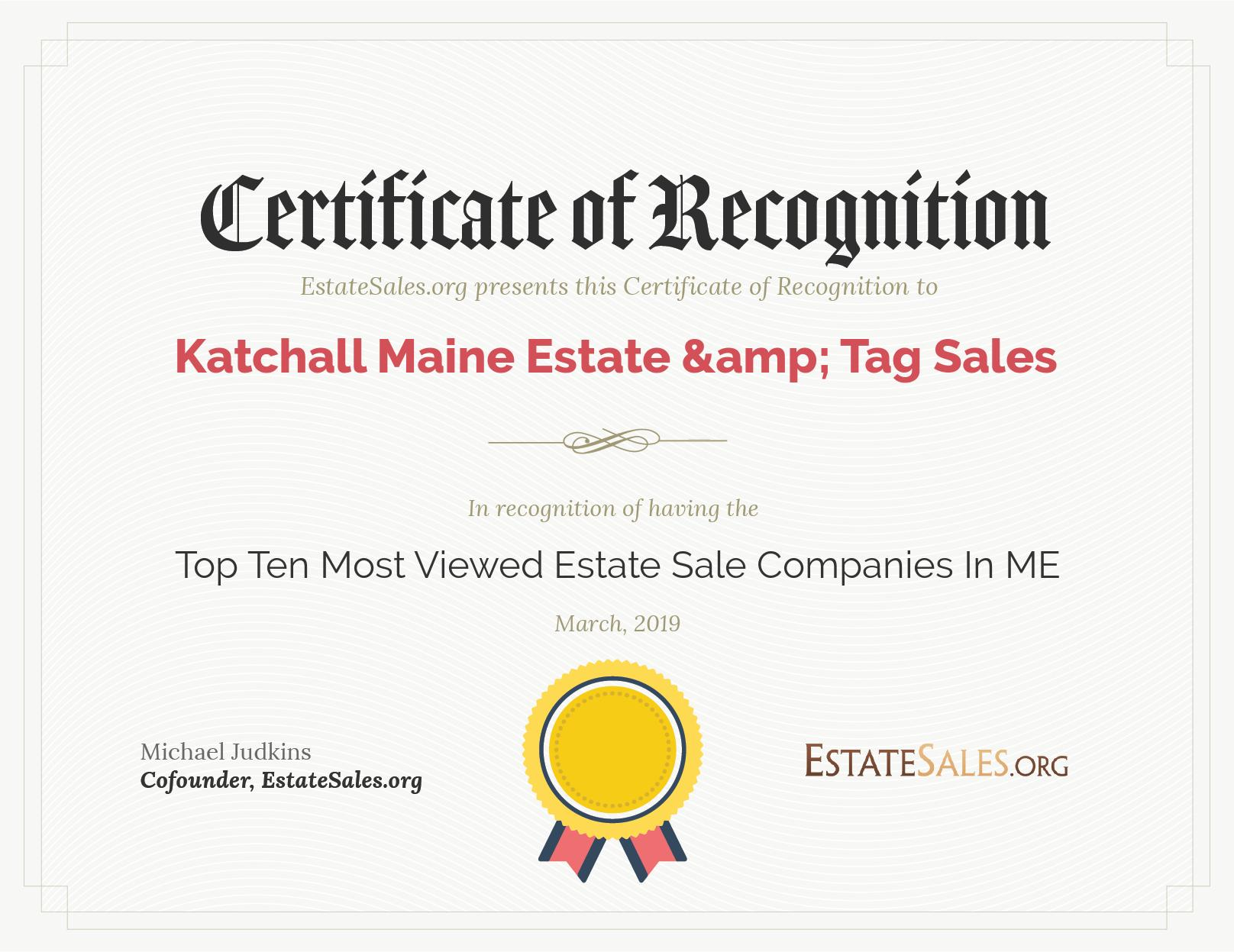 EstateSales org March, 2019 Award Winners - Katchall Maine