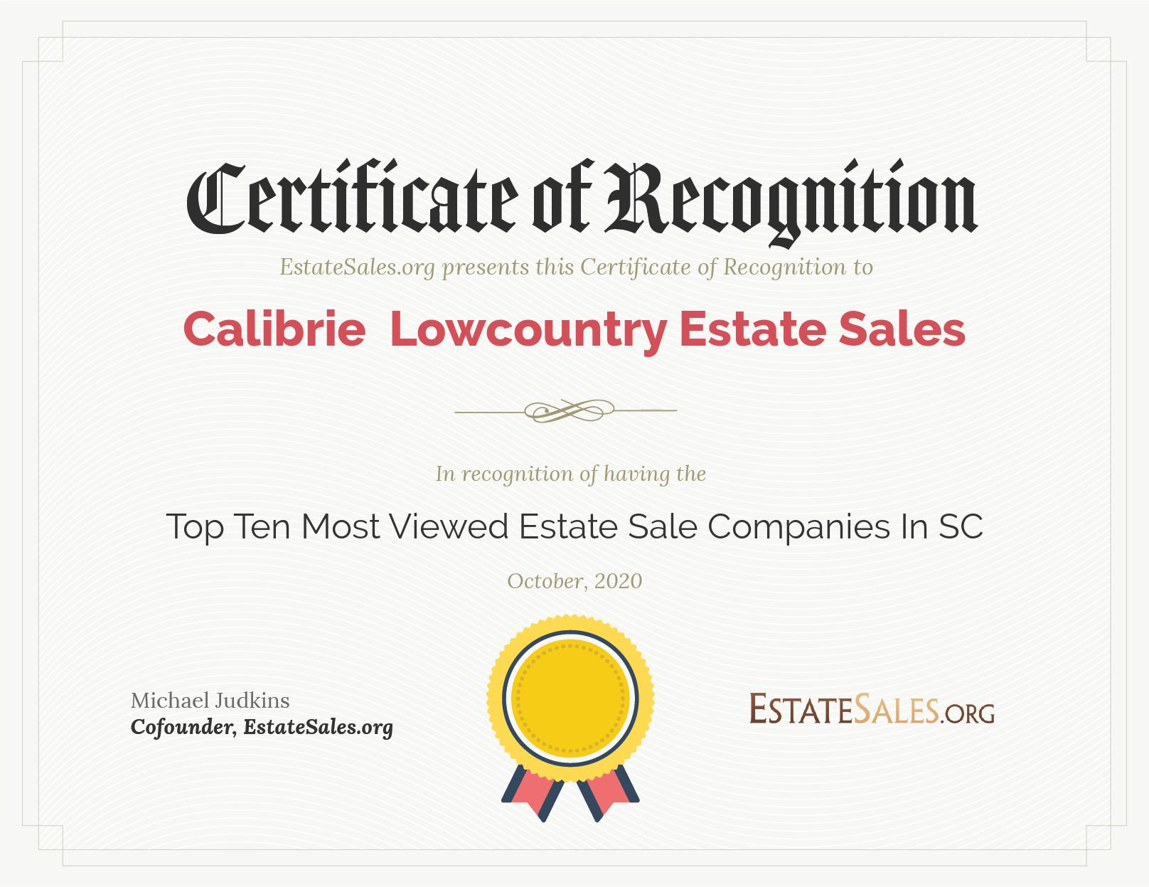 Most Viewed Estate Sale Company Award